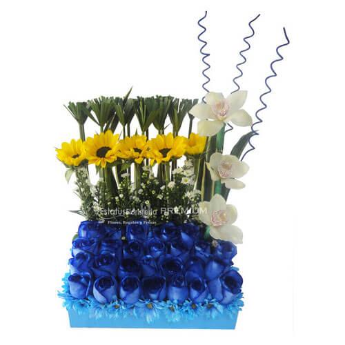 Faz005 Arreglo De Flores Azules