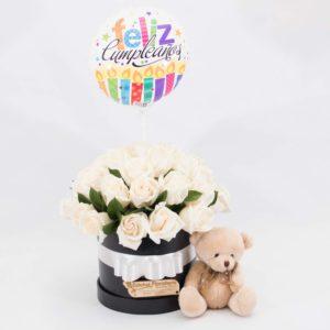 CBE014 -Arreglo floral de rosas blancas