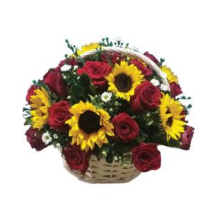 AMR0142 – Rosas y girasoles que enamoran