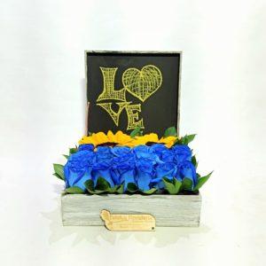 AMR0149 – Rosas azules y girasoles